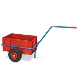 Handwagen für Streugut, kunststoffbeschichtet, mit eingesetztem Kunststoffbehälter