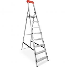 Alu-Stufenleiter mit 8 Stufen, obere Ablage mit Eimerhaken, max. erreichbare Arbeitshöhe 3640 mm