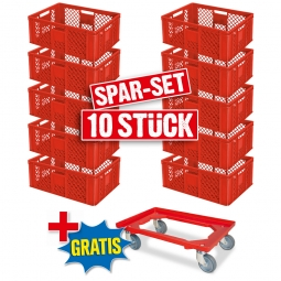 10x Euro-Stapelbehälter + 1 Transportroller GRATIS, Farbe rot, LxBxH 600 x 400 x 240 mm