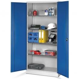 Universal-Stahlschrank, BxTxH 920 x 420 x 1950 mm, Korpus lichtgrau, Türen enzianblau, 4 verzinkte Böden