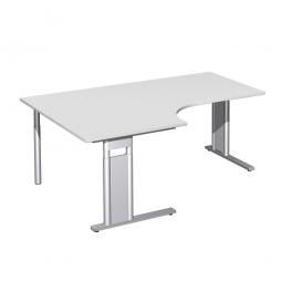 Schreibtisch PREMIUM, Tischansatz links, Lichtgrau/Silber, BxTxH 1800x800/1200x680-820 mm