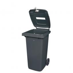 Müllbehälter mit Papiereinwurf, verschließbar, 120 Liter, grau