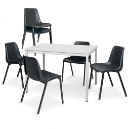 7-teiliges Tischgruppe-Komplettangebot, bestehend aus: 6 Schalenstühlen und 1 Tisch, BxTxH 1600 x 800 x 750 mm, lichtgrau/schwarz