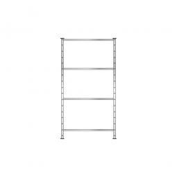 Fachbodenregal Flex mit 4 Fachböden, Stecksystem, glanzverzinkt, BxTxH 1010 x 410 x 2000 mm, Tragkraft 130 kg/Boden