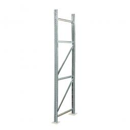 Rahmen für Palettenregale, Stecksystem, zerlegt, TxH 1100 x 4000 mm, Profil PN80, Oberfläche glanzverzinkt