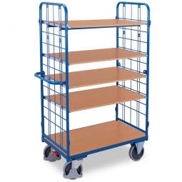 Hoher Etagenwagen mit 2 Wänden und 5 Böden, LxBxH 1395 x 830 x 1805 mm, Tragkraft 500 kg