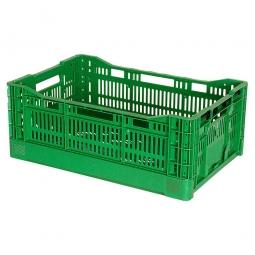 Klappbarer Eurobehälter, geschlitzt, PE-HD, LxBxH 600 x 400 x 240 mm, 47 Liter, grün