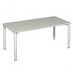 Schreibtisch Komfort, Gestell silber, Dekor lichtgrau, BxTxH 1800x800x720 mm
