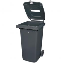 Müllbehälter mit Papiereinwurf, verschließbar, 240 Liter, grau