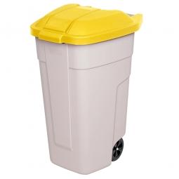 Rolltonne, PP, BxTxH 510 x 550 x 850 mm, 100 Liter, beige/gelb