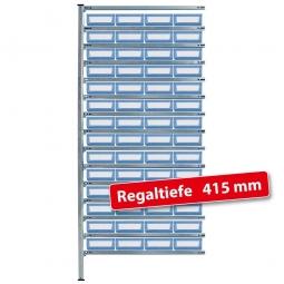 Fachbodensteck-Anbauregal, BxTxH 1000 x 415 x 2000 mm, 15 Böden, mit 56 Regalkästen LxBxH 300 x 234 x 90 mm, Farbe hellblau