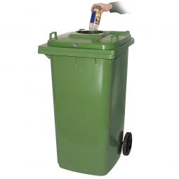 Müllbehälter mit Flascheneinwurf und Gummirosette, BxTxH 580 x 730 x 1075 mm, 240 Liter, grün