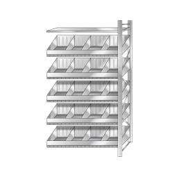 Schüttgut-Anbauregal, BxTxH 1210 x 525 x 3000 mm, 5 Ebenen, 20 Schüttfächer, 3 Fachböden, glanzverzinkt