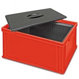 Eurobehälter mit EPP-Isolierbox, geschlossen, LxBxH 600 x 400 x 320 mm, 34 Liter, rot