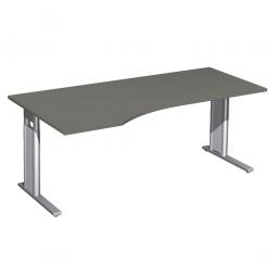 Schreibtisch PREMIUM höhenverstellbar, links, Graphit/Silber, BxTxH 1800x800/1000x680-820 mm