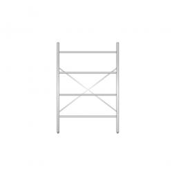 Aluminiumregal mit 4 Gitterböden, Stecksystem, BxTxH 1200 x 400 x 1800 mm, Nutztiefe 380 mm
