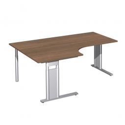 Schreibtisch PREMIUM, Tischansatz links, Nussbaum/Silber, BxTxH 1800x800/1200x680-820 mm