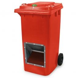 Streugutbehälter mit Entnahmeöffnung und Schließung, rot, 240 Liter, BxTxH 580 x 730 x 1075 mm