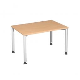 Schreibtisch Komfort, Gestell silber, Dekor Buche, BxTxH 1200x800x720 mm