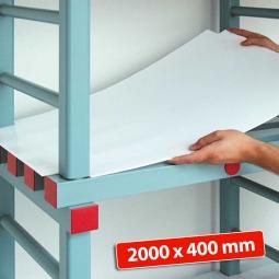 Kunststoff-Einlegeboden, BxT 2000 x 400 mm, Stärke: 2 mm, Farbe: weiß