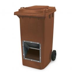 Streugutbehälter mit Entnahmeöffnung, braun, 240 Liter, BxTxH 580 x 730 x 1075 mm