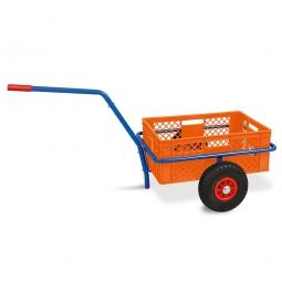 Handwagen mit Kunststoffkorb, H 240 mm, orange, LxBxH 1250 x 640 x 660 mm, Tragkraft 200 kg