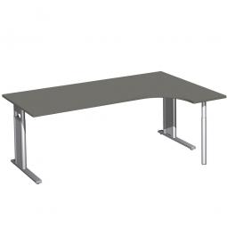 Schreibtisch PREMIUM, Schrankansatz rechts, Graphit/Silber, BxTxH 2000x800/1200x680-820 mm