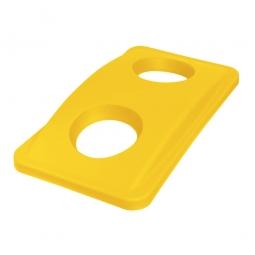 Deckel mit Flascheneinwurf, PE, BxTxH 290 x 520 x 70 mm, gelb