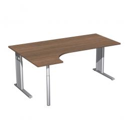 Schreibtisch PREMIUM, Schrankansatz links, Nussbaum/Silber, BxTxH 1800x800/1200x680-820 mm