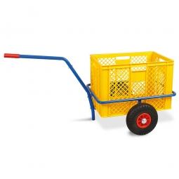 Handwagen mit Kunststoffkorb, H 410 mm, gelb, LxBxH 1250 x 640 x 660 mm, Tragkraft 200 kg