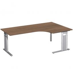 Schreibtisch PREMIUM, Tischansatz rechts, Nussbaum/Silber, BxTxH 2000x800/1200x680-820 mm
