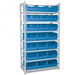 Steckregal, verzinkt, HxBxT 2000x1070x515 mm, 7 Böden, 21 Sichtboxen LB 2T Farbe blau