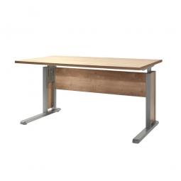 Schreibtisch mit C-Fußgestell, Farbe silber, Platte Wildeiche, BxTxH 1200x800x680-820 mm