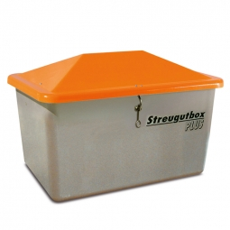 Streugut-Behälter, Volumen 200 L, grau/orange, LxBxH 890x590x670 mm, glasfaserverstärkter Kunststoff (GFK)