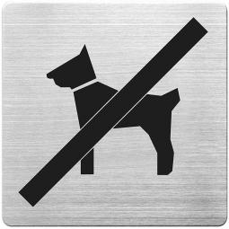 "Hinweisschild ""Hunde verboten"", Edelstahl, HxBxT 90x90x1 mm"