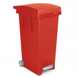 Tret-Abfallbehälter mit Rollen, BxTxH 370 x 510 x 790 mm, Inhalt 80 Liter, rot