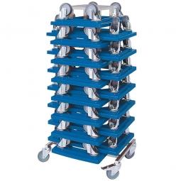 Rollerständer mit 15 Transportrollern 600 x 400 mm mit schwarzen Kunststoffrädern, blau