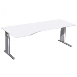 Schreibtisch PREMIUM höhenverstellbar, links, Weiß/Silber, BxTxH 2000x800/1000x680-820 mm