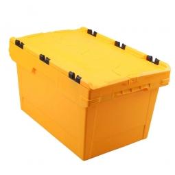 Universal Klappdeckelbox, verplompbar, LxBxH 600 x 400 x 300 mm, 47 Liter, gelb