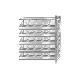 Schüttgut-Steck-Anbauregal, HxBxT 2000x1510x525 mm, Mit 5 Wannenbodenebenen, 20 Schüttfächern und 1 Fachbodenebene