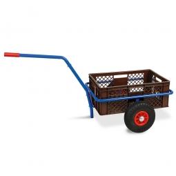 Handwagen mit Kunststoffkorb, H 240 mm, braun, LxBxH 1250 x 640 x 660 mm, Tragkraft 200 kg