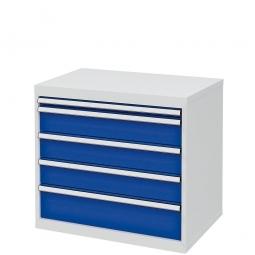 System-Schubladenschrank mit 5 Schubalden, BxTxH 900x575x820 mm, lichtgrau/enzianblau