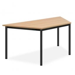 Trapeztisch, Gestell schwarz, Platte Buche, BxTxH 1600x800x720 mm