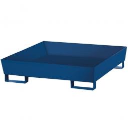 Auffangwanne aus Stahlblech, blau, für 4x 200 Liter-Fässer, ohne Gitterrost