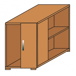 Anstellcontainer, Buche, BxTxH 550 x 800 x 720 mm
