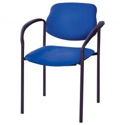 Besucherstuhl mit Armlehnen, Gestell schwarz, Polster marineblau, stapelbar, BxTxH 500x550x820 mm, max. Tragkraft 110 kg