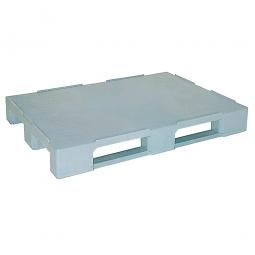 Kunststoffpalette im Euromaß mit 3 Kufen und Sicherungsrand, LxBxH 1200 x 800 x 150 mm, geschlossene Deckfläche, grau