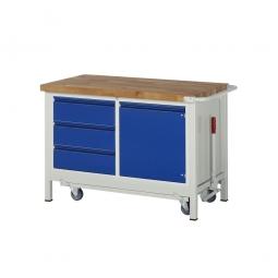 """Fahrbare Werkbank """"Profi"""", absenkbar, 3 Schubladen, 1 Tür, Fahrbar, BxTxH 1250x700x880 mm"""