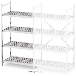 Aluminium-Anbauregal mit 4 Gitterböden, Stecksystem, BxTxH 775 x 400 x 1600 mm, Nutztiefe 380 mm