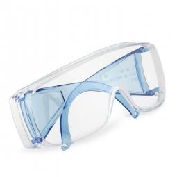 Schutzbrille nach EN 166, Volltransparent, mit farbigen Bügeln